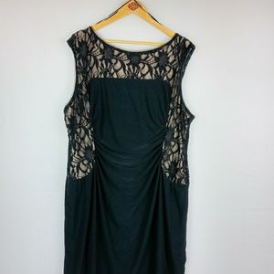 Avenue Black Dress Twinkle Lace over Nude Stretch